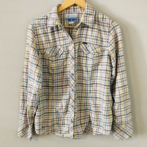 Columbia Large Flannel Shirt Pearl Snap Checks
